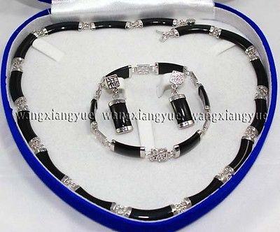 Naturel Noir Agate Lien Collier Bracelet boucles d'oreilles SetAAA 18 K GP Plaqué or De Mariée large montre ailes reine JEWE