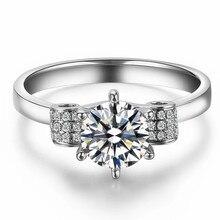 Акция продажи ювелирных изделий из белого золота 14 K 1CT имитированный алмаз уникальное обручальное кольцо для влюбленных подарок леди 585 предложение кольцо для женщин