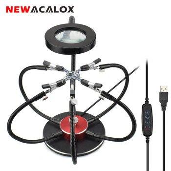 NEWACALOX רב הלחמה עוזר ידיים USB LED אור מגדלת זכוכית 6 pcs גמיש זרועות הלחמה תחנת תיקון ריתוך כלי