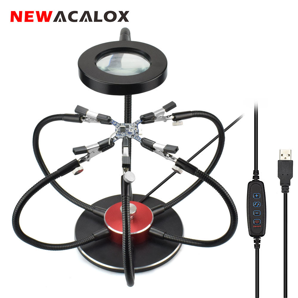 NEWACALOX Multi Soldering Helping Hands USB LED Light Magnifying Glass 6pcs Flexible Arms Soldering Station Repair Welding Tool