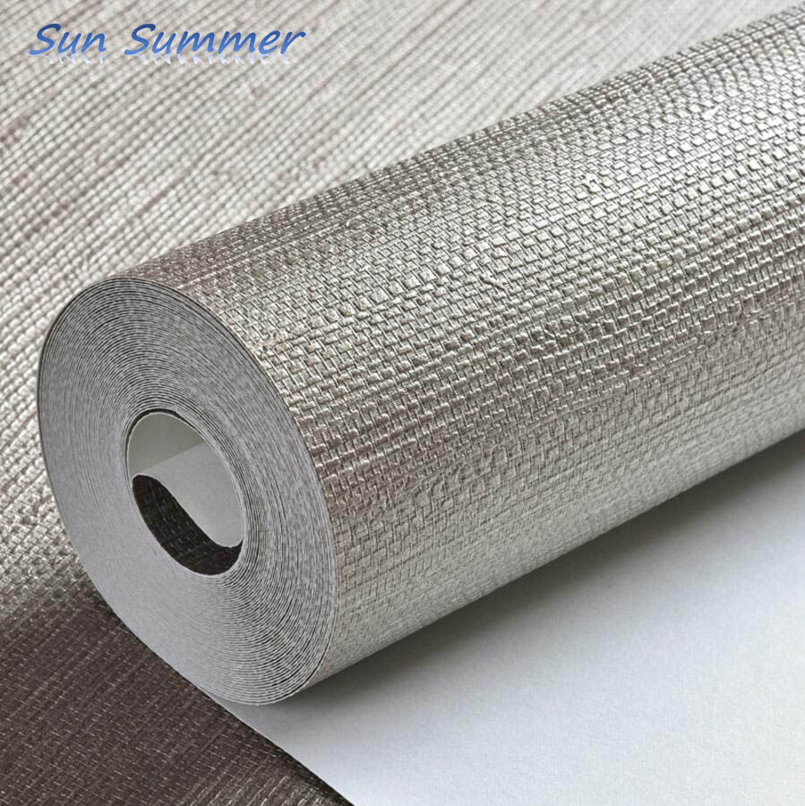 New classical solid color straw braid linen wallpaper modern brief wallpaper
