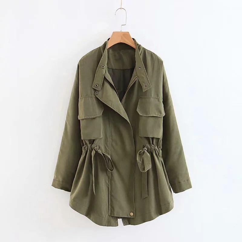 Casaco Feminino   Trench   Coat   Trench   Coat Real Offer Women's Free Shipping 2019 Autumn Style Drawstring Tie Section Windbreaker