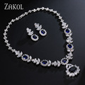 ZAKOL Luxury Platinum Plated Dark Blue Cubic Zirconia Jewelry Sets Simulated Diamond Earrings Necklace Set Factory Price FSSP112