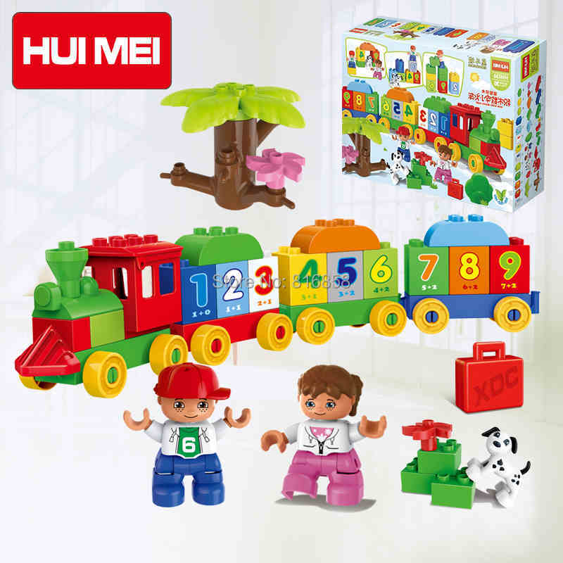 Original HUIMEI 59pcs Big Building Blocks Number Train Baby Blocks Educational Toys Compatible with Duplo