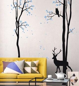Creative Tree Wall Decal Deer Wall Sticker Livingroom Vinyl Tree Sticker  Mural Vinilos Paredes DIY Self Adhesive Removable LC591