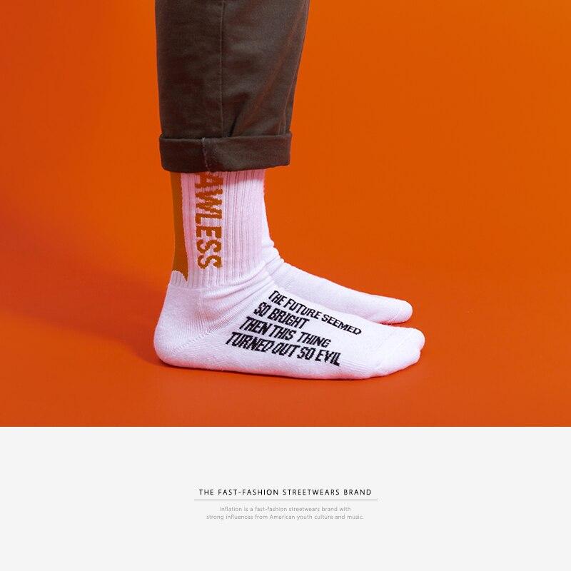 INFLATION 2018 men women   socks   letter printed   socks   hip hop streetwear ins casual Crew harajuku fashion long   socks   921AI2018