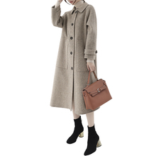 Female Hepburn Parker Long Section Jacket 2019 Spring Autumn New Woolen Coat Korean Popular Herringbone Outerwear winter