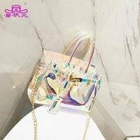 2017 The New Fashion Women Transparent Bag Clear Beach Handbag PVC Plastic Summer Shoulderbag High Quality