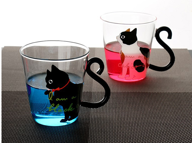 250ml transparent Glass Japanese glass cat cup ...