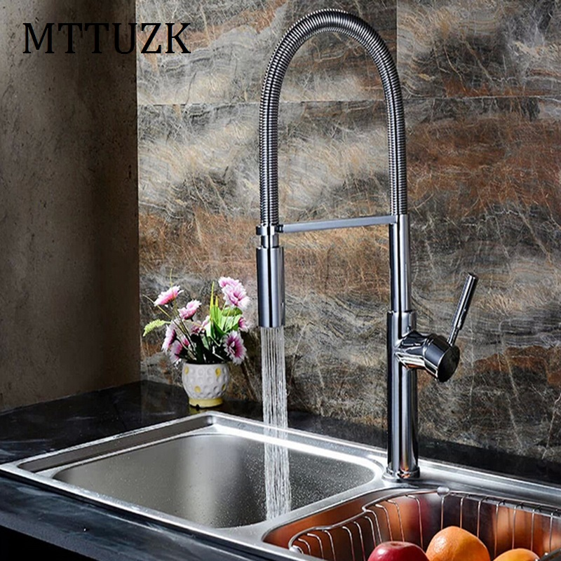 MTTUZK top quality Polished chrome Spring spray Kitchen mixer faucet Basin faucet luxury kitchen sink tap accessories 1pcs/lot
