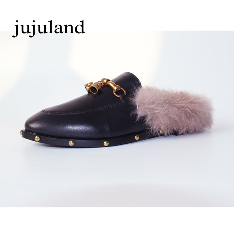 Women Winter Lazy Shoes Genuine Leather Slippers Mules Cow Leather Fur Plush Animal Prints Big Size Metal Decoration Rivet soft plush big feet pattern winter slippers