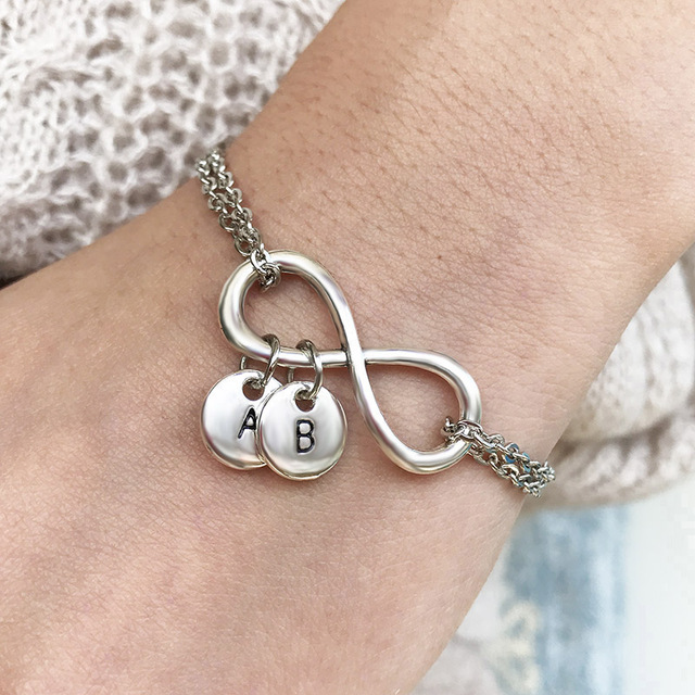 2019 New Fashion Jewelry Customizable A to Z Letters Charms Bracelets DIY Handmade Personalized Infinity Bracelets for Women