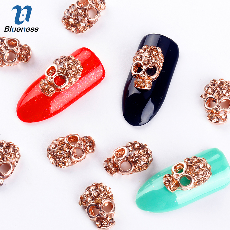 Blueness 10Pcs Alloy Glitter 3D Nail Art Skull Decorations With RhinestoneS Nail Charms,Jewelry on Nails Salon Supplies TN863 10pcs pack glitter green rhinestones nail art decorations alloy 3d nail jewelry charms nails tools free shipping