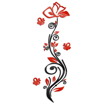 Rose flower entranceway tv background wall modern decoration crystal 3d three-dimensional Mirror wall stickers sofa painting red 9