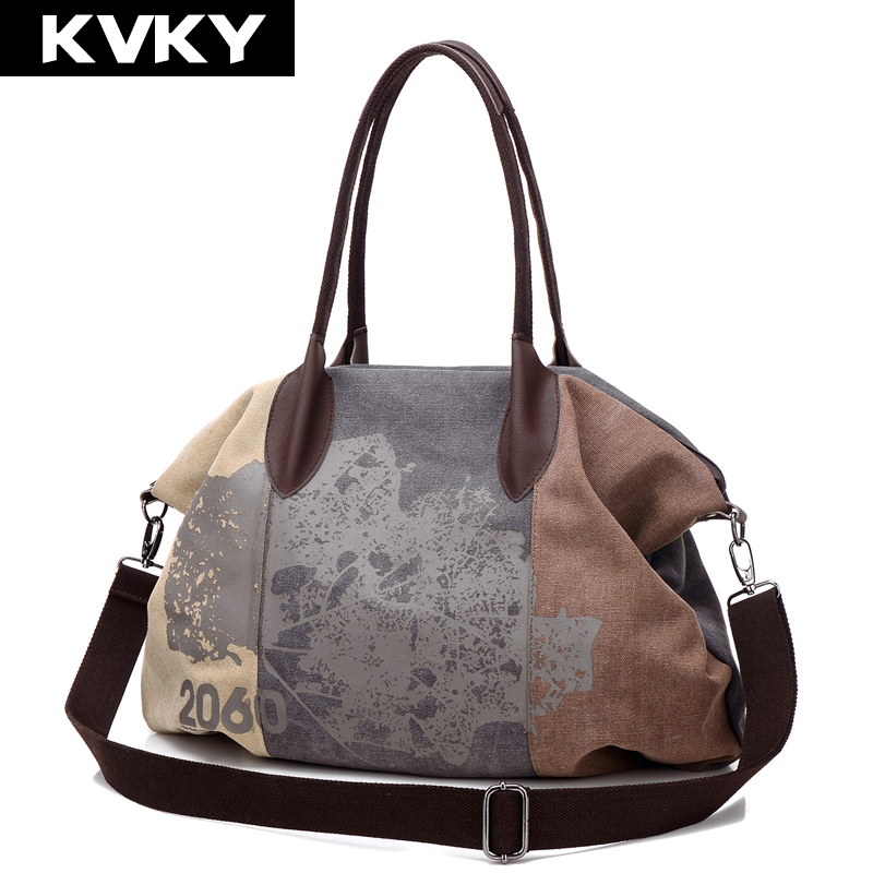 KVKY Vintage Women Canvas Bag Brands Fashion Casual Large Capacity Hobos Bag Ladies Crossbody Bags Trapeze Ruched Shoulder Bags high quality travel canvas women handbag casual large capacity hobos bag hot sell female totes bolsas ruched solid shoulder bag
