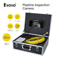 Eyoyo wf90 7 80 м дренажной трубы трубопровода инспекция канализационные Камера змея Cam 1000tvl 12 белых светодиодов объектив Цвет мониторы Водонепро