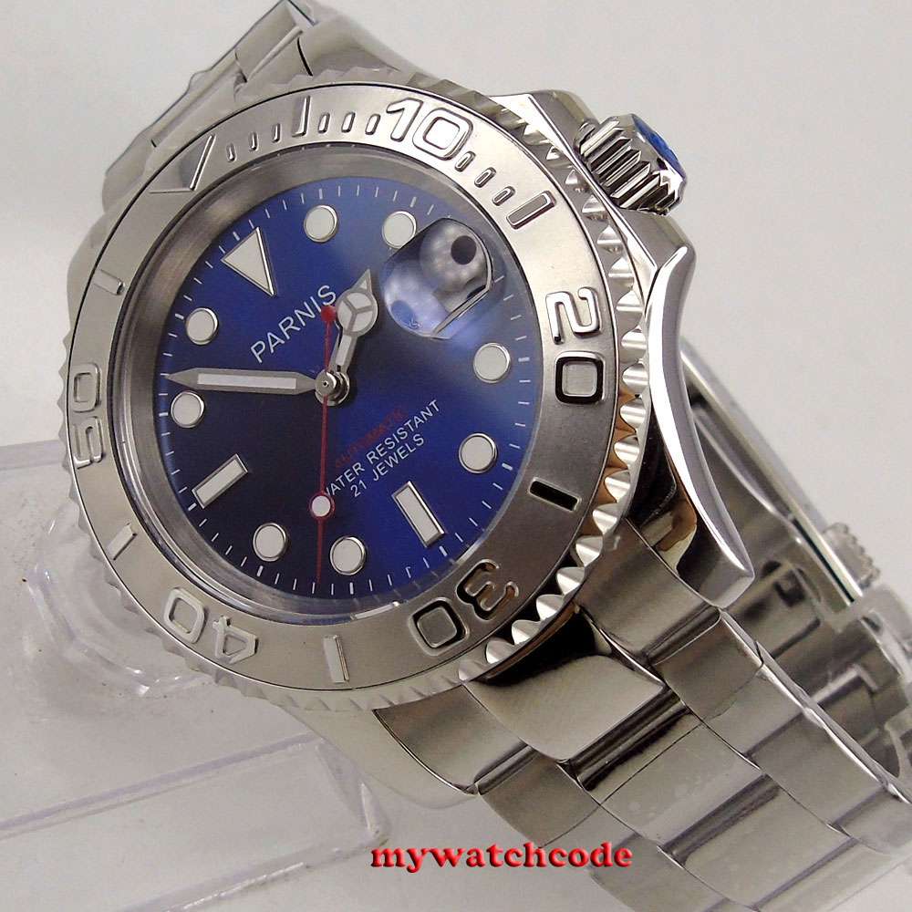 41mm Parnis Ss Watches Case Sapphire Glass 21jewels Deep Blue Dial Miyota 8215 Automatic Watch