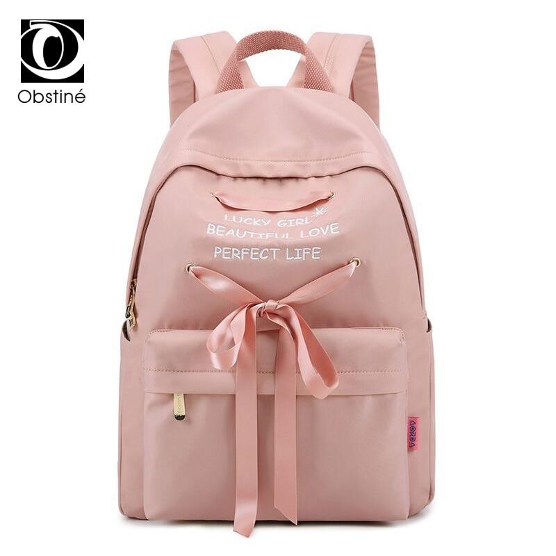 Cute Bow Youth Backpack School Bag for Girls Nylon Waterproof Backpacks Women Large 14 Inch Laptop Bagpack Pink Daypack Female