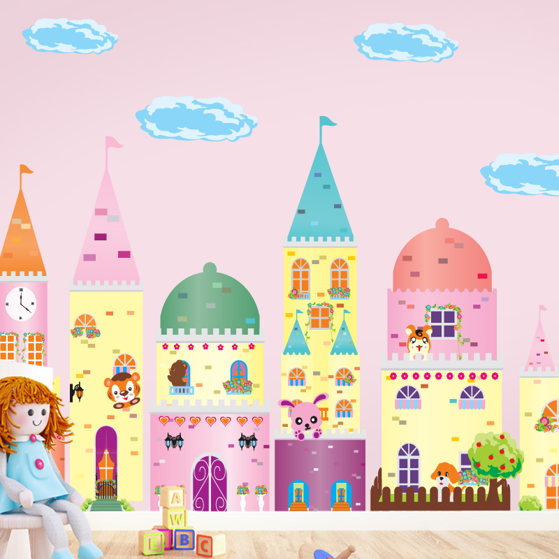Remoavbel carton princess castle cute animals room kids for Castle mural kids room