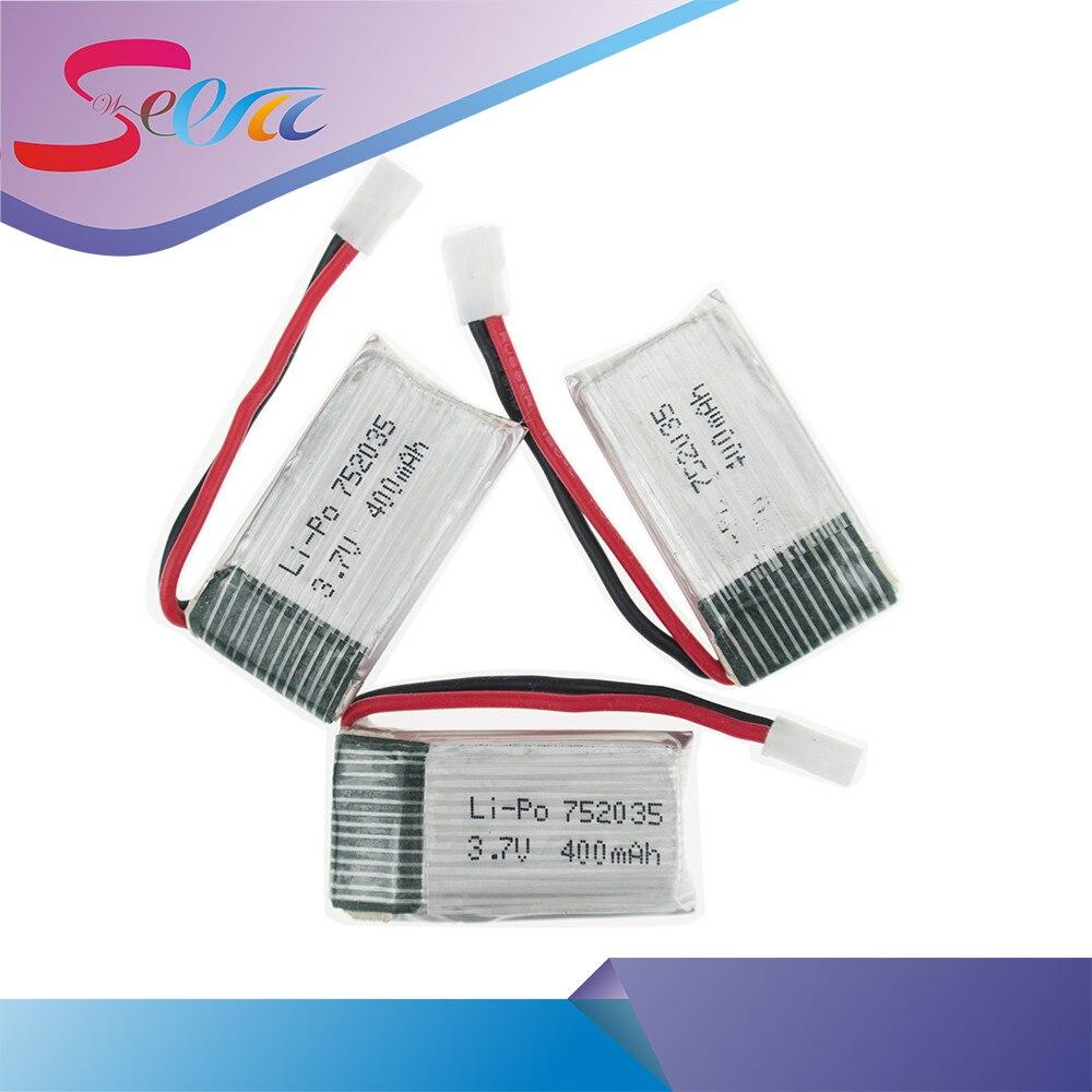 3PCS 3.7V 400mAh Lipo Battery For Eachine H99W JJRC H31 H6C H98 Hubsan X4 H107 DM003 Spare Parts Lipo Battery Drone RC 752035 cm 052535 3 7v 400 mah для видеорегистратора купить