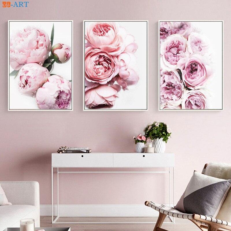 Peony Print Floral Botanical Wall Art Pastel Pink Flowers ...