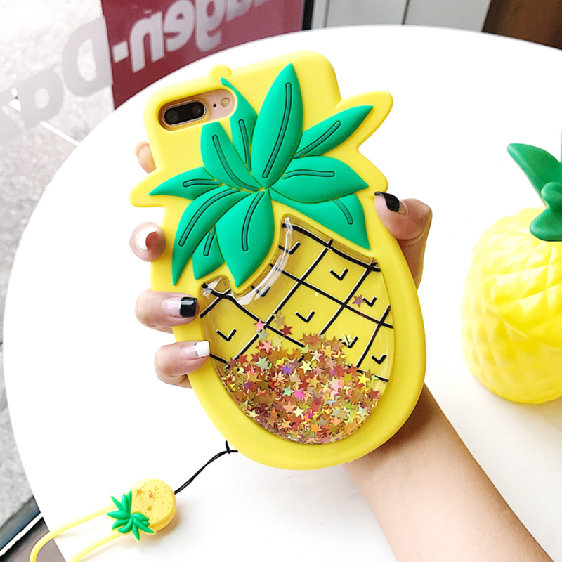 GlamPhoneCase Fashion Liquid Quicksand Case For iPhone X 6 6S 7 8 Plus 3D Star Sequin Pineapple Soft Silicone Phone Cases