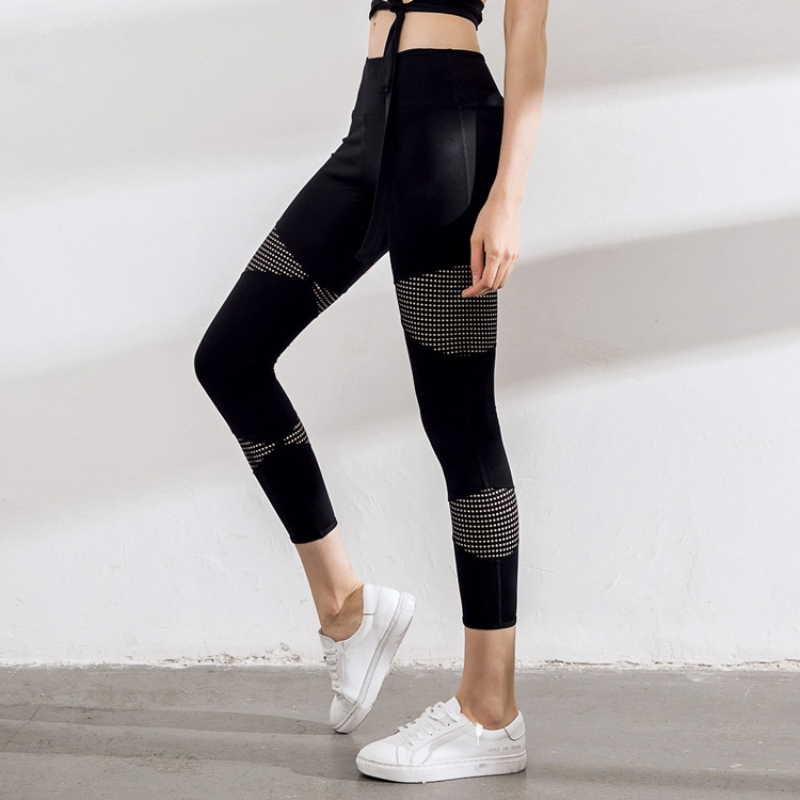 2018 New Mesh Match Color Stretch Pants Fitness Running Yoga Ankle Length Pants Women Flexible Female Exercise Pants Push Up