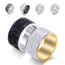 8 Rows Stylish Punk AAA Zircon Rings Stainless Steel for Men Women Rings Charm Jewelry Wedding Jewelry 2019(China)