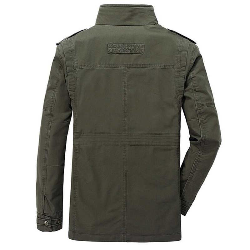 Осенне-зимние мужские куртки в стиле милитари, Коллекция 100% года, куртка с воротником-стойкой, с несколькими карманами, длинная куртка-пилот, L-8XL Jaqueta masculina
