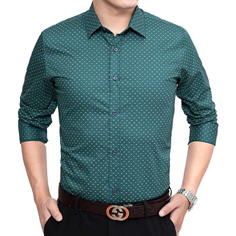 スリムフィット男性長袖シャツ春の秋綿 100% のファッションブランド男の服チェック柄の綿カジュアルシャツ社会プラスサイズ