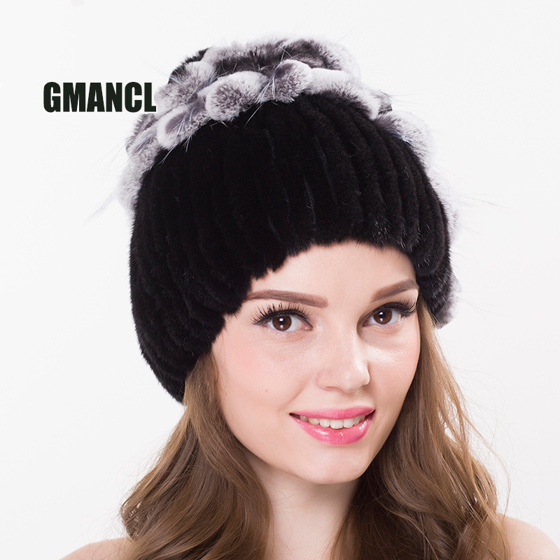 GMANCL Real Mink Fur Hat In Women Beanies Warm Winter Cap Floral Elastic Genuine Fur All Mink Girls Ears Skullies & Beanies skullies beanies mink mink wool hat hat lady warm winter knight peaked cap cap peaked cap