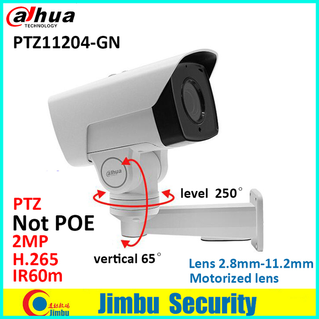US $102 3 |Dahua PTZ 2MP IP camera PTZ11204 GN bullet motorized 2 8mm  11 2mm H 265 IR60m IP67 with bracket cctv security camera-in Surveillance