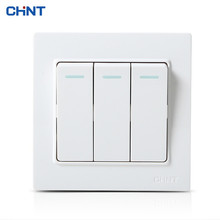 CHNT 86 Type Switch Three Gang One Way Color Light Wall Panel Socket Push Buttont