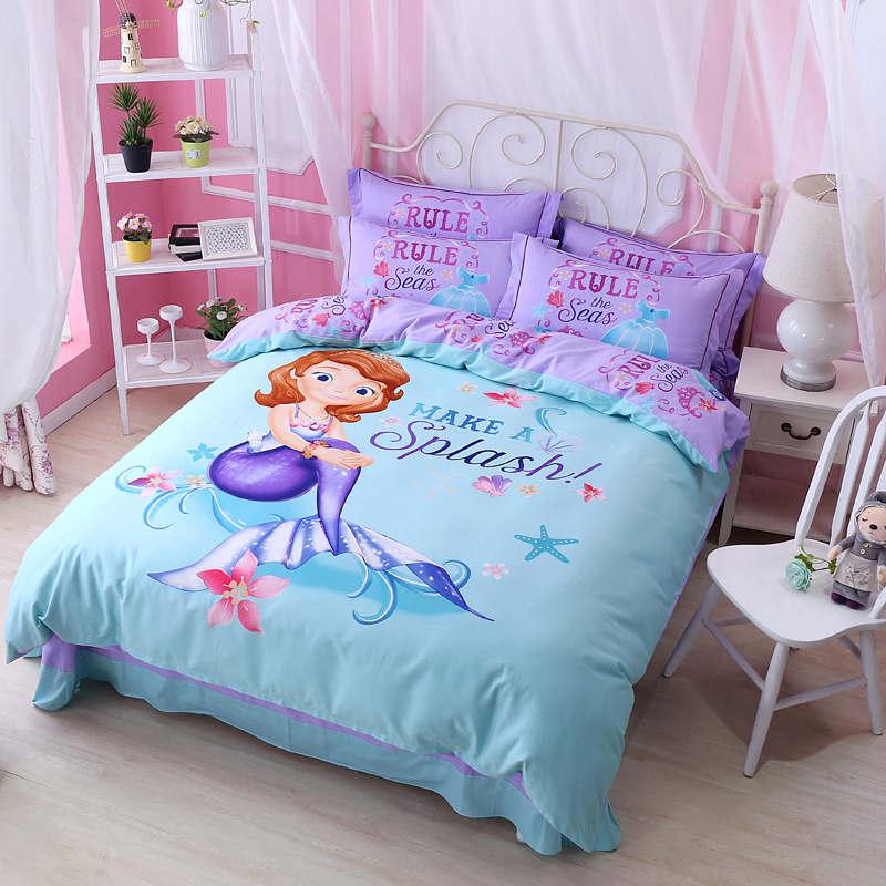 Blue Purple Mermaid Princess Disney Comforter Bedding Set ...