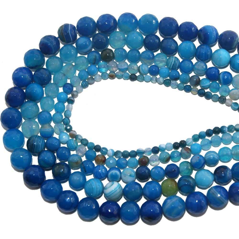 OMH Atacado 4 6 8 10 MMFaceted Ágatas Ametistas Talão Pedra Natural Quartzo Rosa Pulseira Lapis lazuli Jóias Fazendo DIY ZZ05