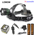 LOMOM Cree LED Rechargeable XML-T6 Headlamp 18650 battery Strong White Light zoomable head lights+2*18650 battery+Charger