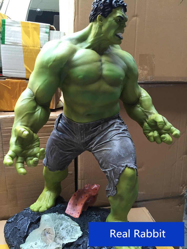 [Engraçado] super tamanho 1/4 escala 60cm os vingadores 3 hulk verde gigante thanos figura de ação estátua coleção modelo brinquedo presente adulto