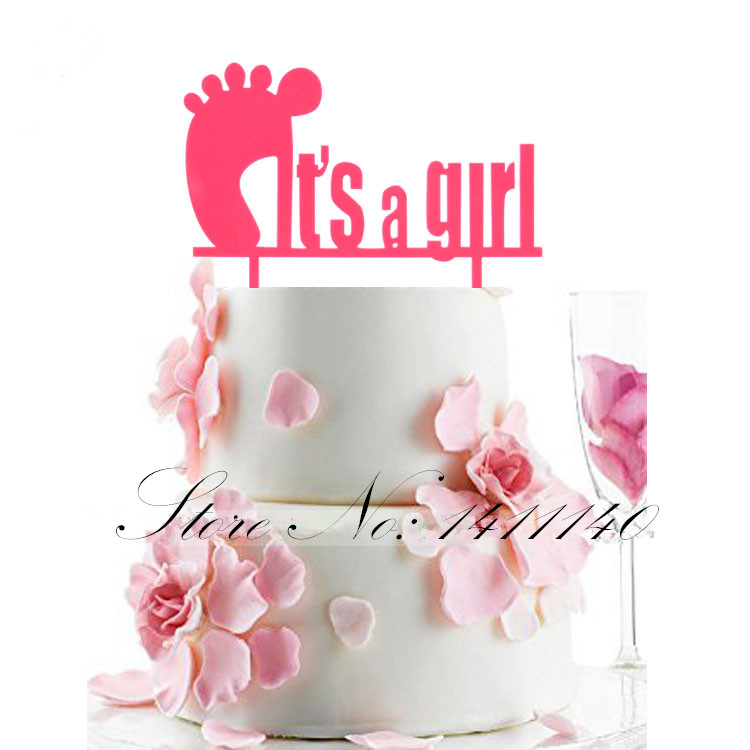 Pink Color Its a Girl  Birthday Cake Topper Girl Baby 100 Days Brithday Party Decroation Baby Shower Favors free shipping