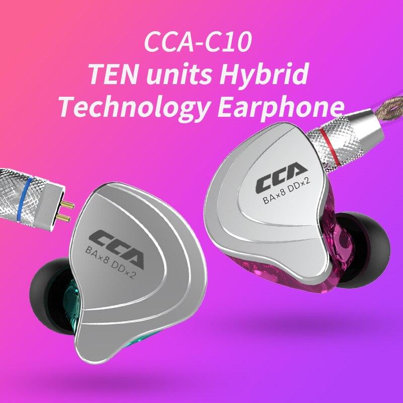 Nueva evaluación C10 4BA + 1DD auriculares auricular híbrido en la oreja de alta fidelidad Monitor deporte del auricular con Detacable separar 2PIN Cable
