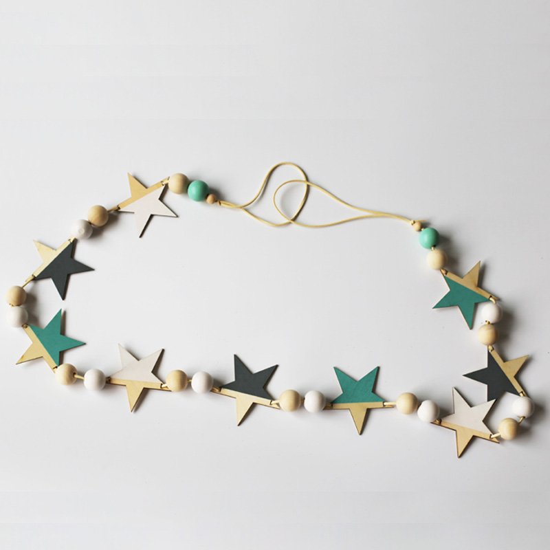 Nordic Wood Beads Stars Hanging Banner Baby Room Wall Hanging - Үйдің декоры - фото 3
