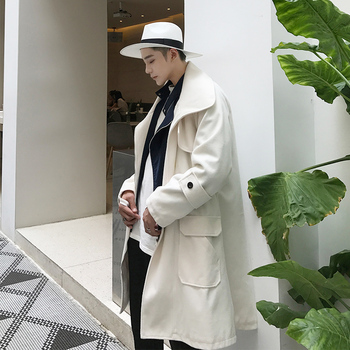 M-XL!! 2018 In autumn and winter, men's woolen coat is loose with a long fashion coat. White fashion windbreaker.