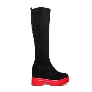 Image 3 - MORAZORA 2020 أعلى جودة جلد الغزال حذاء برقبة للركبة النساء أسافين أحذية منصة الخريف الشتاء تمتد الأحذية امرأة