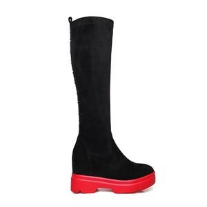 Image 3 - Женские замшевые сапоги до колена MORAZORA, черные Стрейчевые сапоги на платформе, Осень зима 2020