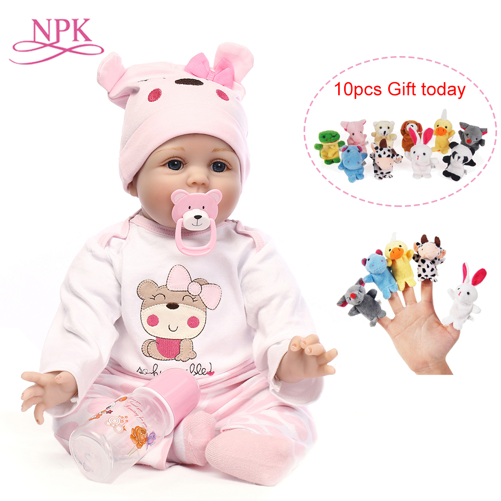 NPK Doll Reborn 55CM Soft Silicone Reborn Baby Dolls Vinyl Toys For Girls 3-7 Years Old Baby Dolls + 25CM Plush Doll 2018 new arrivals 22 soft vinyl silicone baby doll reborn 55cm with magnet pacifier cute monkey plush toys for girls mini doll