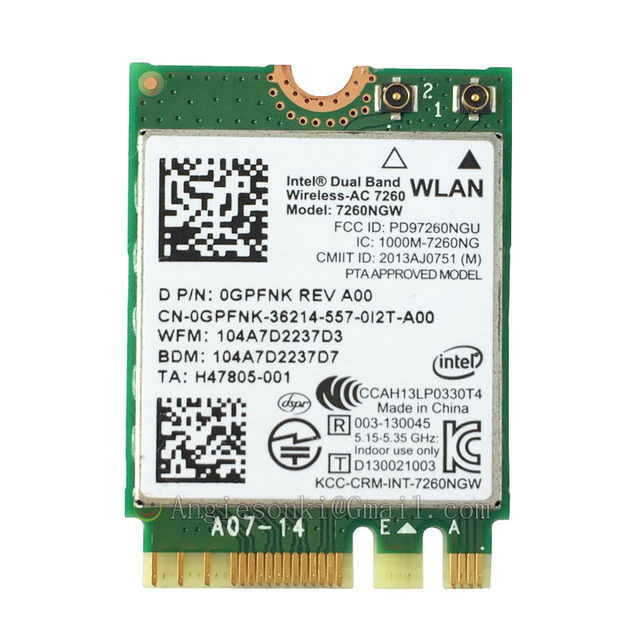 7260ngw Wifi Bluetooth40 867Mbps 24G 5 NGFF WLAN Card For Dell