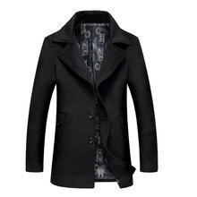 Мужские Шерстяные Куртки Пальто 2017 Осень Марка Мужчины Манто Homme шерстяные Куртки И Пальто Мужские Теплые Шерстяные Пальто Плюс Размер 6XL