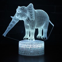 3D LED Night Light Elephant with 7 Colors Changeable Table Light for Home Decoration Lamp Visualization Optical Illusion Gift цена