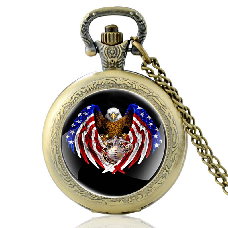New Arrivals Vintage Bronze United States Marine Corps Quartz Pocket Watch Classic American Flag Eagle Pendant Necklace Watches