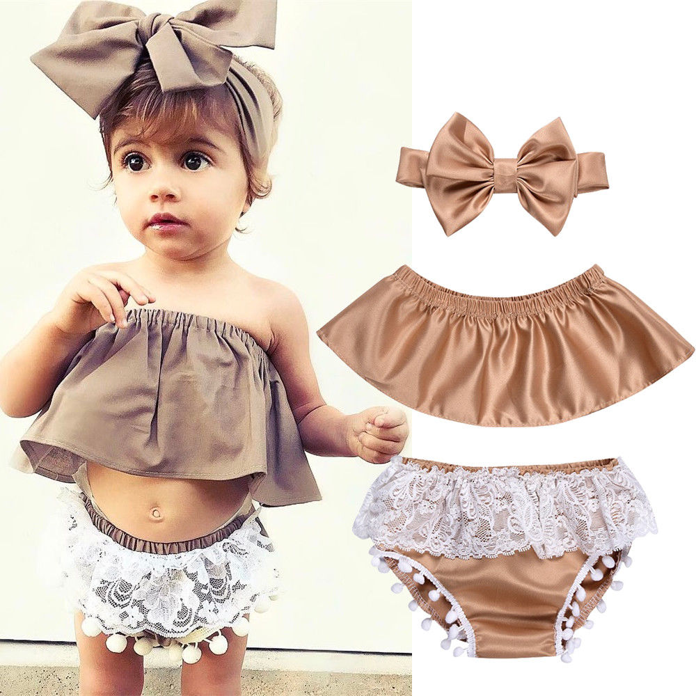3fee9fd39 New Summer Baby Suit Newborn Baby Girl Clothes Set Off Shoulder Crop Top  Khaki T-Shirt Infant Lace Tassel Shorts 3PCS Outfit