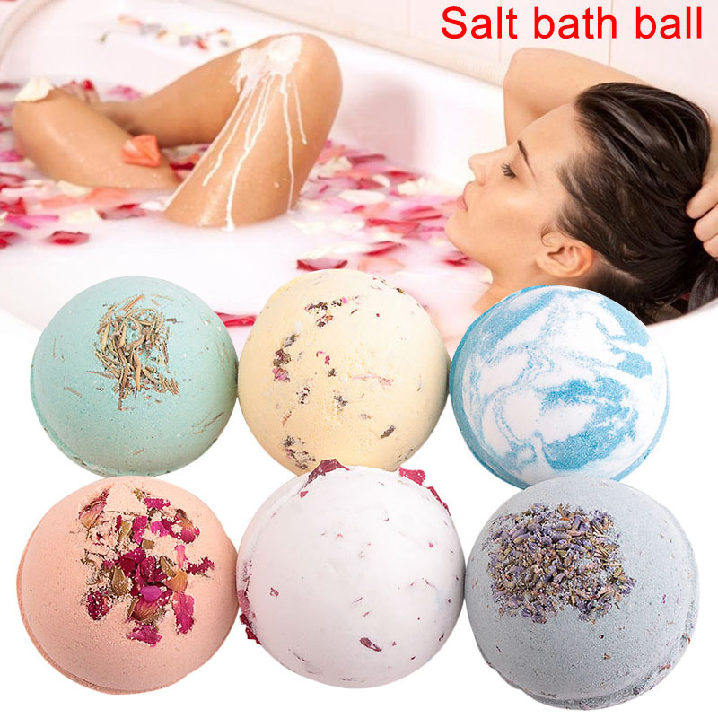 100g Organic Bath Salt Body Essential Oil Sea Salt Bath Ball Rose Green Tea Lavender Lemon Milk Essential Oil Bubble Bomb